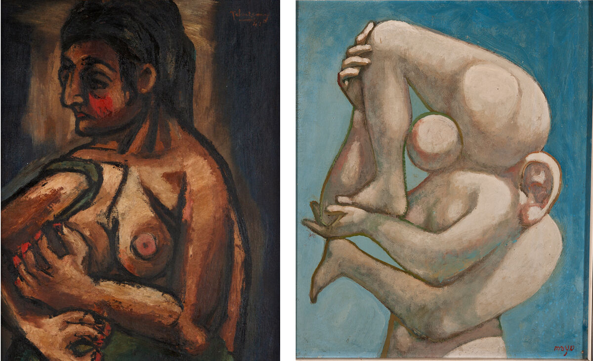 Left: Kamel el Telmisany, Nu, 1941. Barjeel Art Foundation Sharjah; Right: Mayo, Portrait, 1937. Images courtesy of Centre Pompidou.
