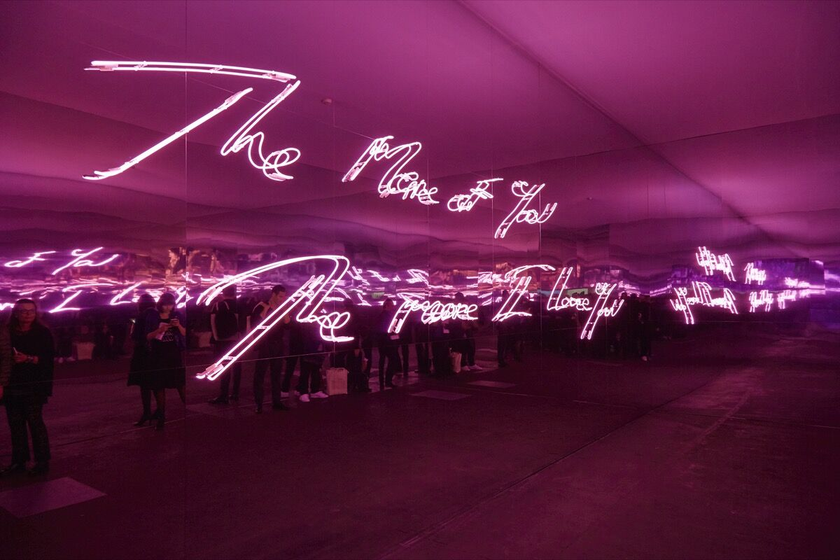 Installation view of work by Tracey Emin, co-presented by Xavier Hufkens, Lehmann Maupin, and White Cube, at Art Basel Unlimited, 2016. Photo by Benjamin Westoby for Artsy.
