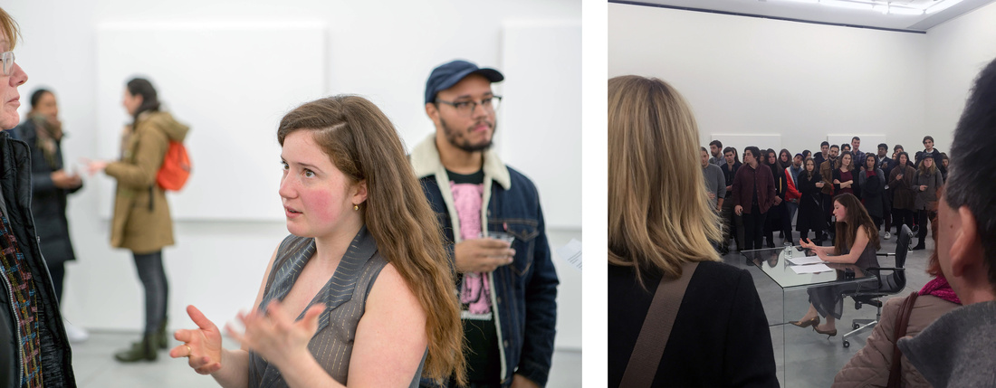 Sarah Meyohas's performance at 303 Gallery, New York, January 8th, 2016. Photos courtesy of 303 Gallery, New York.