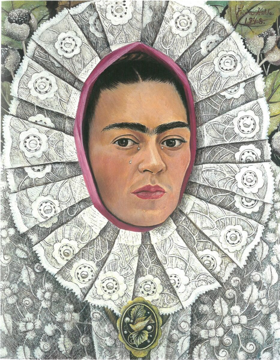"Frida Kahlo, Self-Portrait, 1948. © 2017 Banco de México, Fiduciary of the Trust of the Diego Rivera and Frida Kahlo Museums. Courtesy of the Victoria & Albert Museum, ""Frida Kahlo: Making Her Self Up,"" 16 June – 14 November 2018. Sponsored by Grosvenor Britain & Ireland."