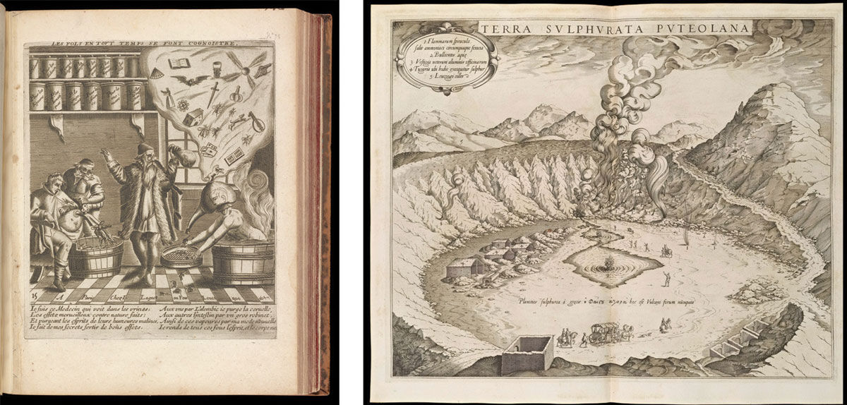 Left: Theodor de Bry, The Doctor of Fools. Right: Anton Eisenhoit, Stip-Mining Sulfur at Pozzuoli. Images courtesy of the Getty Research Institute.