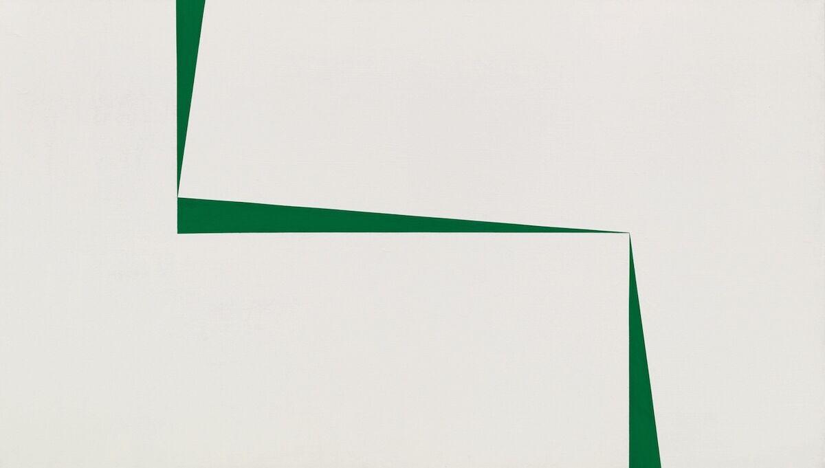 Carmen Herrera, Blanco y Verde , 1966–67, acrylic on canvas. Courtesy Sotheby's.