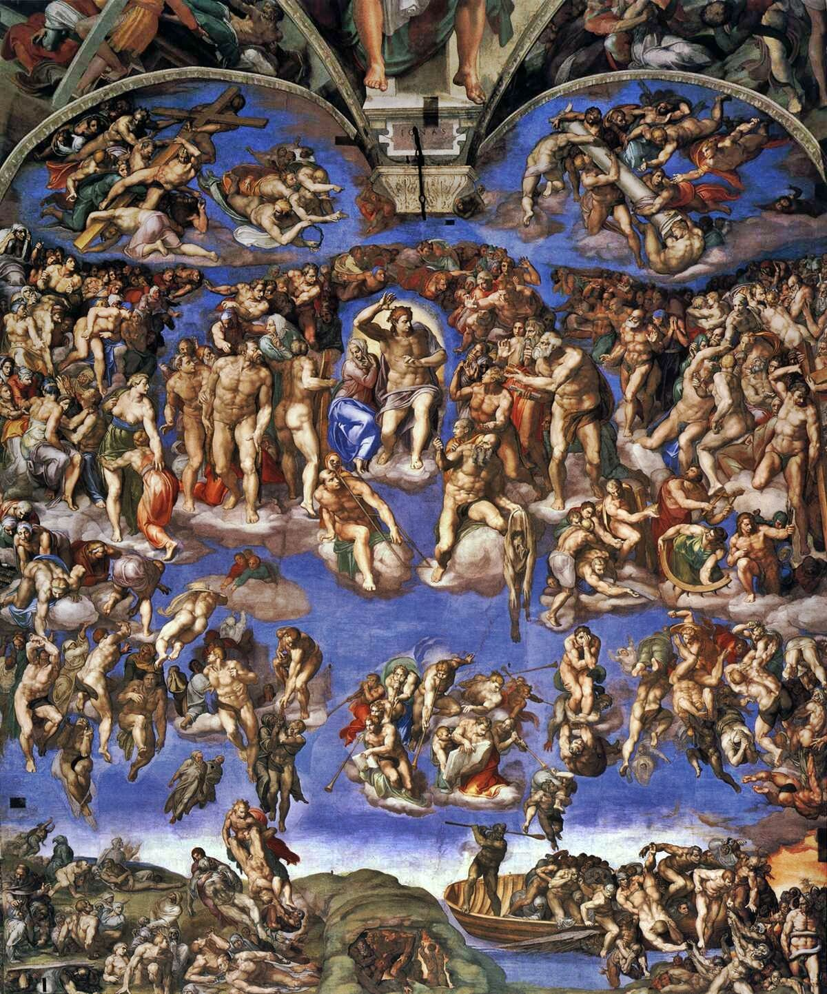 Michaelangelo, Last Judgment, 1536-41. Photo via Wikimedia Commons.