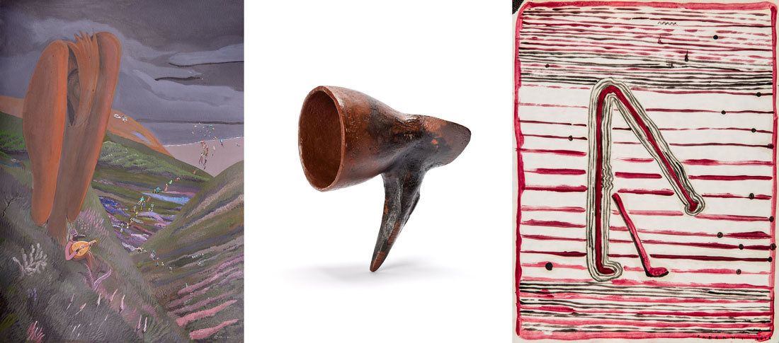 """Works, left to right: Milad Musavi, Untitled; Houman Mortazavi, Untitled (AKA bullhorn) from the """"My Sister; Your existence is My Issue"""" series, 2015; Nariman Farokhi, 50x65 cm, 2015. Images courtesy of Dastan's Basement."""