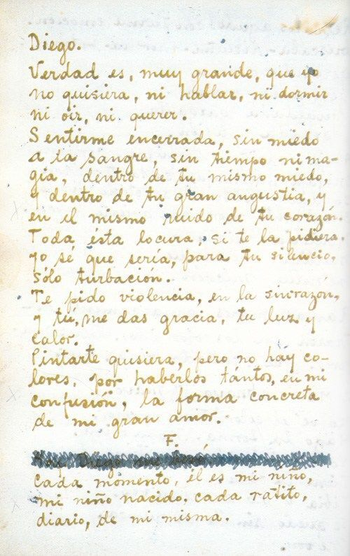 Letter fromThe Diary of Frida Kahlo: An Intimate Self-Portrait. © Banco de Mexico Diego Rivera & Frida Kahlo Museums Trust, Mexico, D.F. / Artists Rights Society (ARS), New York.