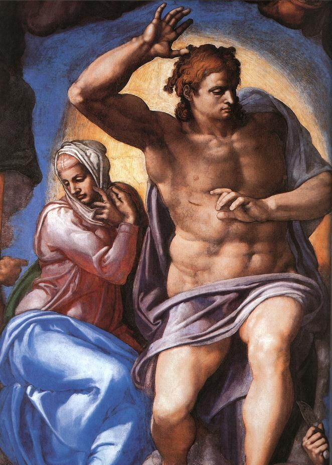 Detail of Michaelangelo, Last Judgment, 1536-41. Photo via Wikimedia Commons.