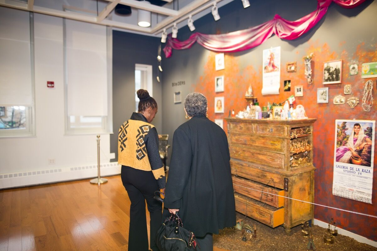 Installation view of work by Amalia Mesa-Bains at the opening of CCCADI. Image by Rex Desrosiers, courtesy of CCCADI.