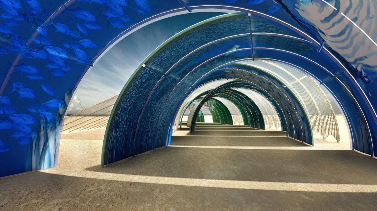 Vista interior de Madeleine Hamann, Mikey Benaron, Sierra Joy, Ryan Searcy e Chris Olson, Ocean Tunnel, 2018. Cortesia dos artistas.