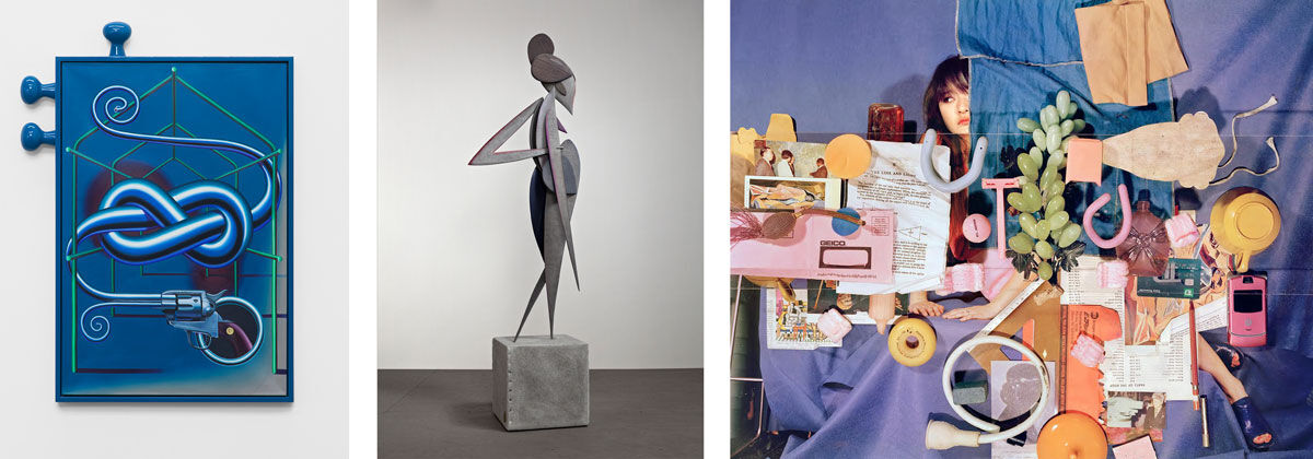 Left: Orion Martin, Hobnail Garden Nigh Knot Tune, 2016. Courtesy of Bodega, New York; Center: Ryan Johnson, Day Figure, 2016. Courtesy of Nicelle Beauchene Gallery, New York; Right: Sara Cwynar, Tracy with Objects, 2016. Courtesy of Foxy Production, New York.