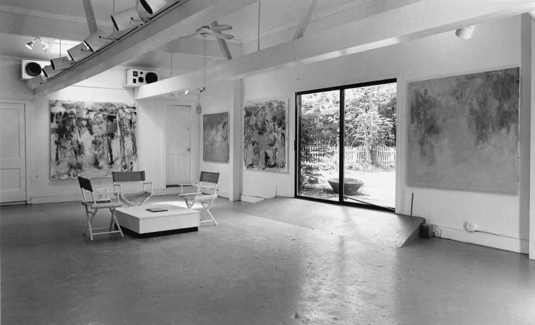 """Interior view of EHCCA, showing """"Robert Harms: A Solo Exhibition of Recent Work,"""" 1987. Photo by Noel Rowe, courtesy of Arielle Tepper Madover & Hyphen."""