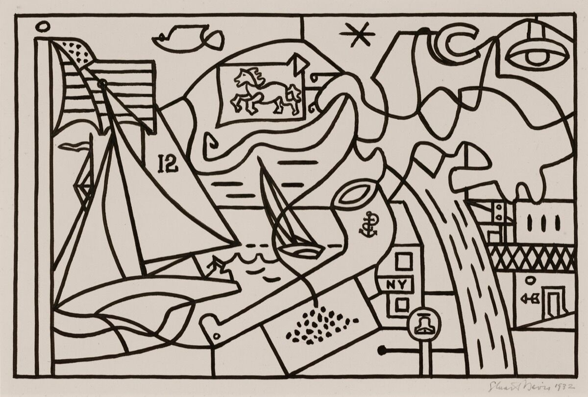 "Stuart Davis, (Study for ""Men Without Women""), 1932. © Estate of Stuart Davis / Licensed by VAGA, New York, NY. Courtesy of Kasmin, New York."
