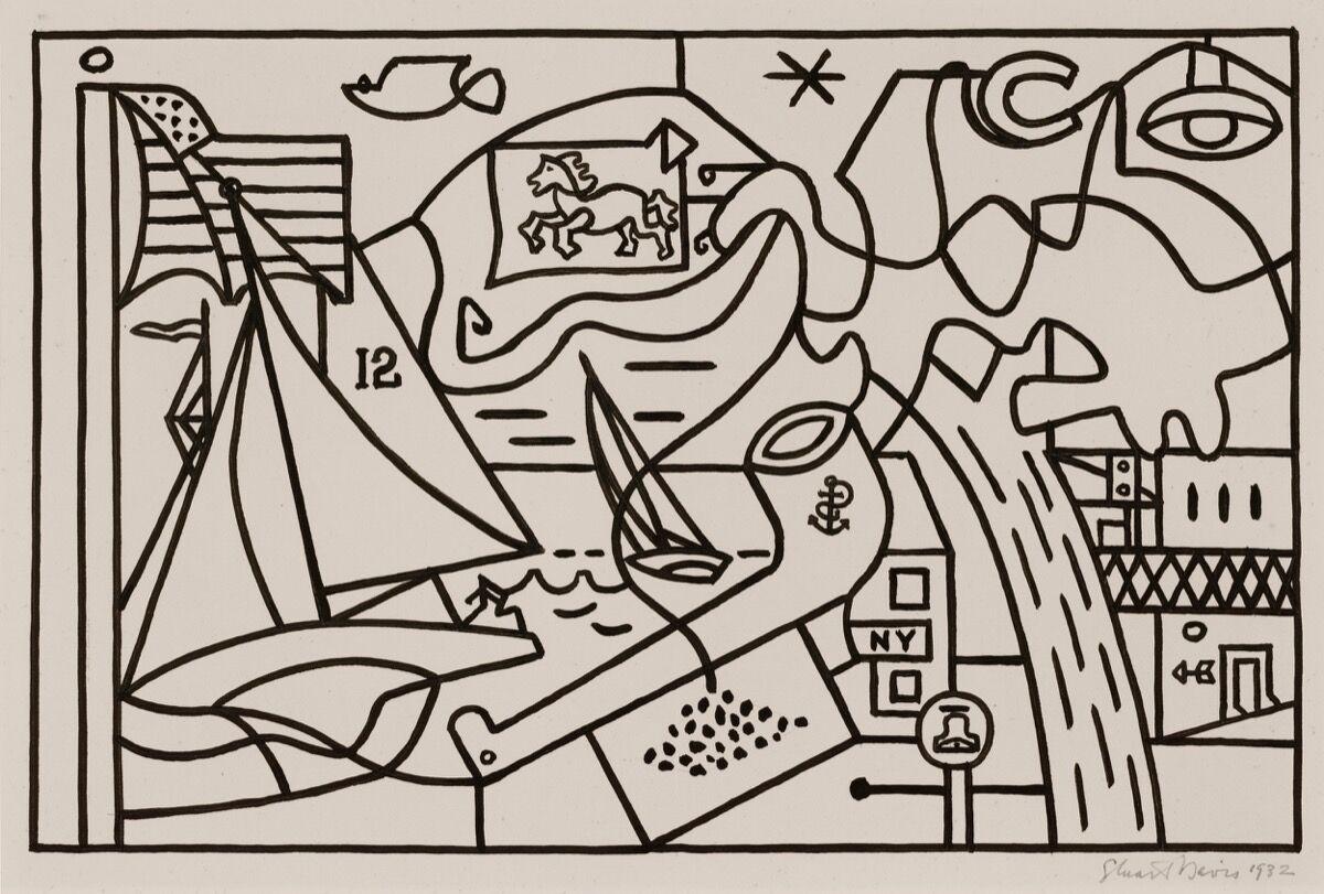 "Stuart Davis, (Study for ""Men Without Women""), 1932. © Estate of Stuart Davis / Licensed by VAGA, New York, NY. Courtesy of Kasmin, New York."