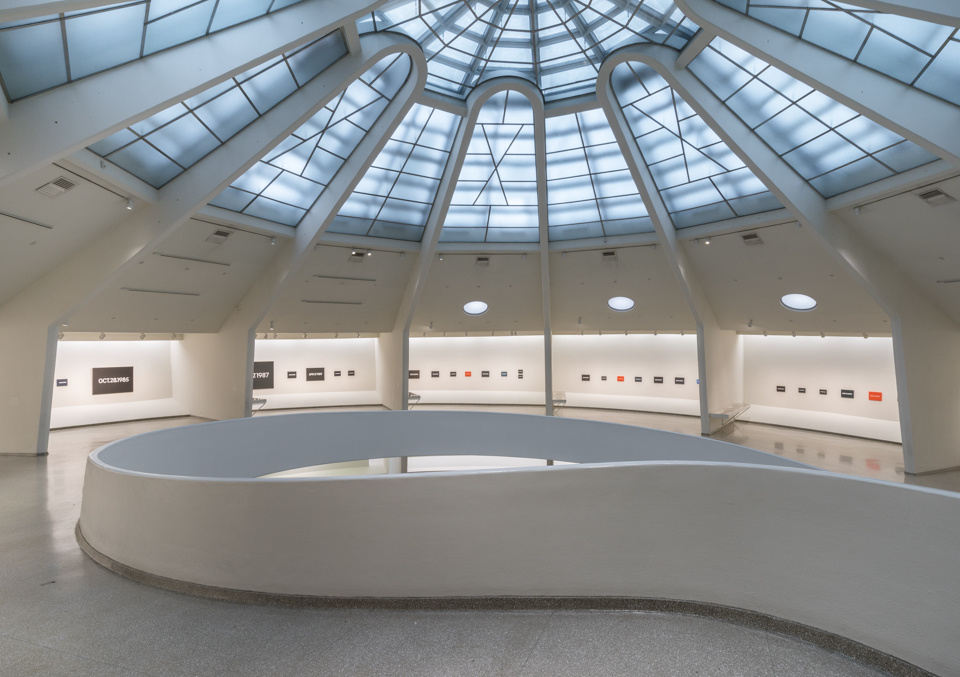 """Installation view of """"On Kawara – Silence,"""" courtesy of the Guggenheim Museum"""