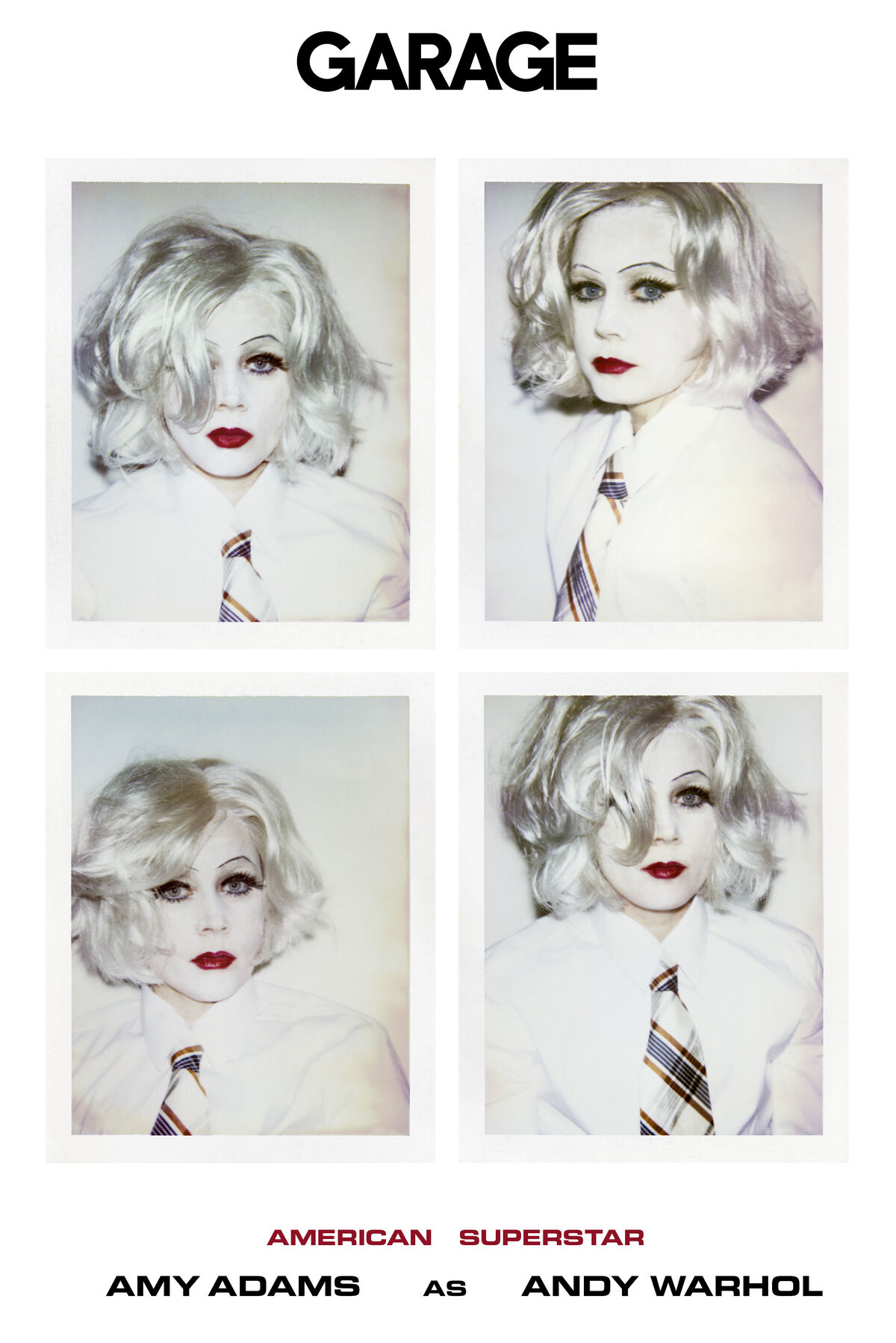 Cover of GARAGE Magazine No. 14 (S/S18) starring Amy Adams as Andy Warhol in his famous Self-Portrait in Drag. Photography by Inez & Vinoodh.