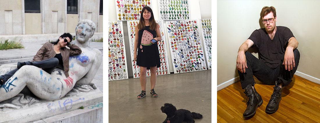 Left to right: Portrait of Rosha Yaghmai, courtesy of the artist and Kayne Griffin Corocan, Los Angeles; Portrait of Despina Stokou, courtesy ofKatharina Bauckhage from artflash.de; Portrait of Derek Paul Boyle, courtesy of the artist.