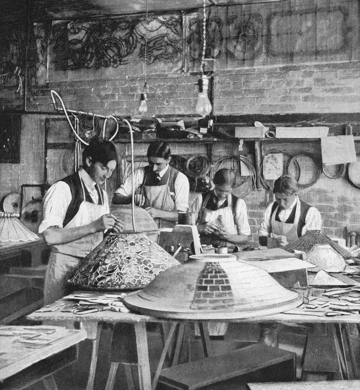 Men fabricating Tiffany's leaded glass shades, 1899. From Cosmopolitan Magazine. Courtesy of the Neustadt Collection of Tiffany Glass.