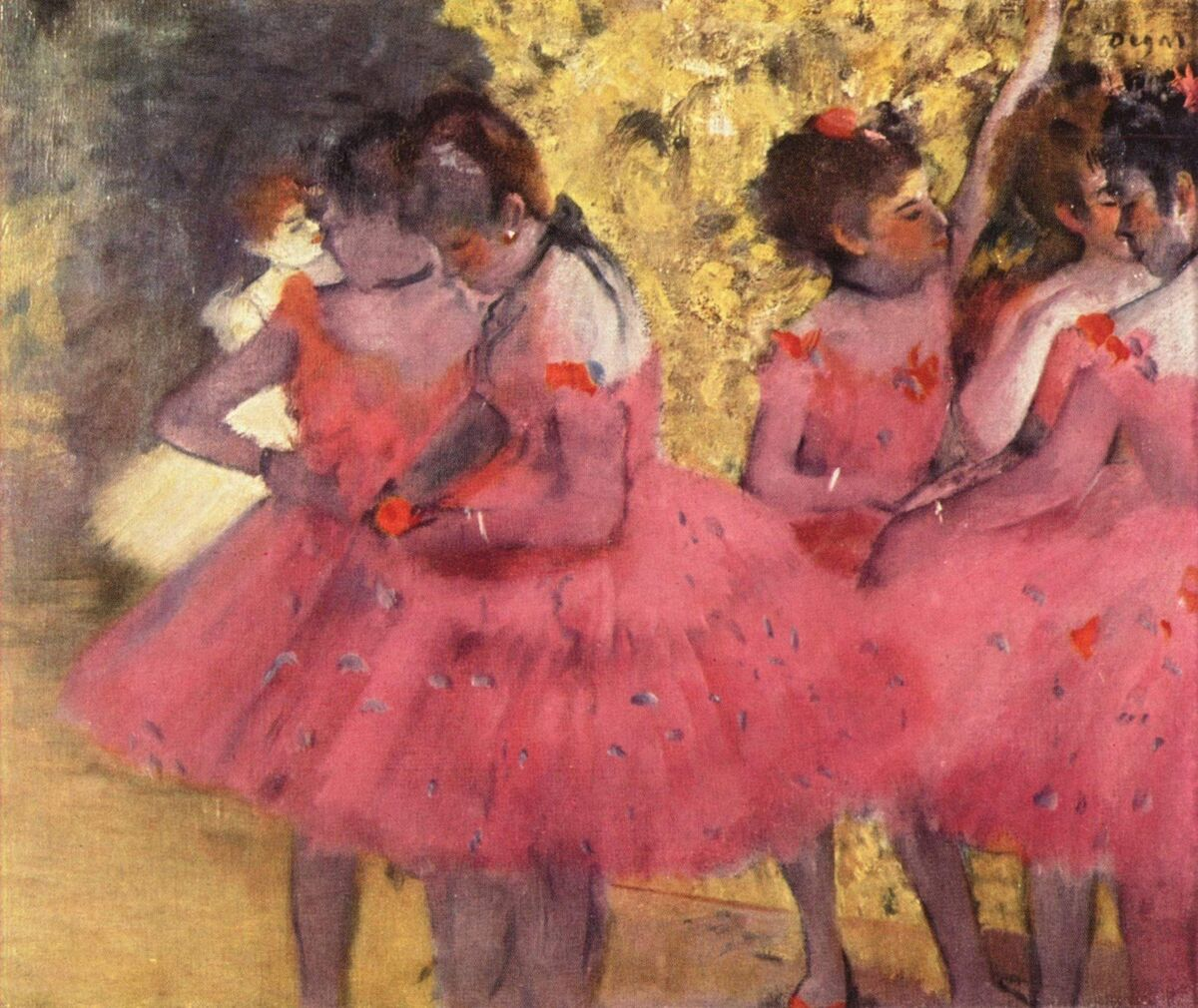 Edgar Degas, The Pink Dancers, Before the Ballet, 1884.  Image via Wikimedia Commons.