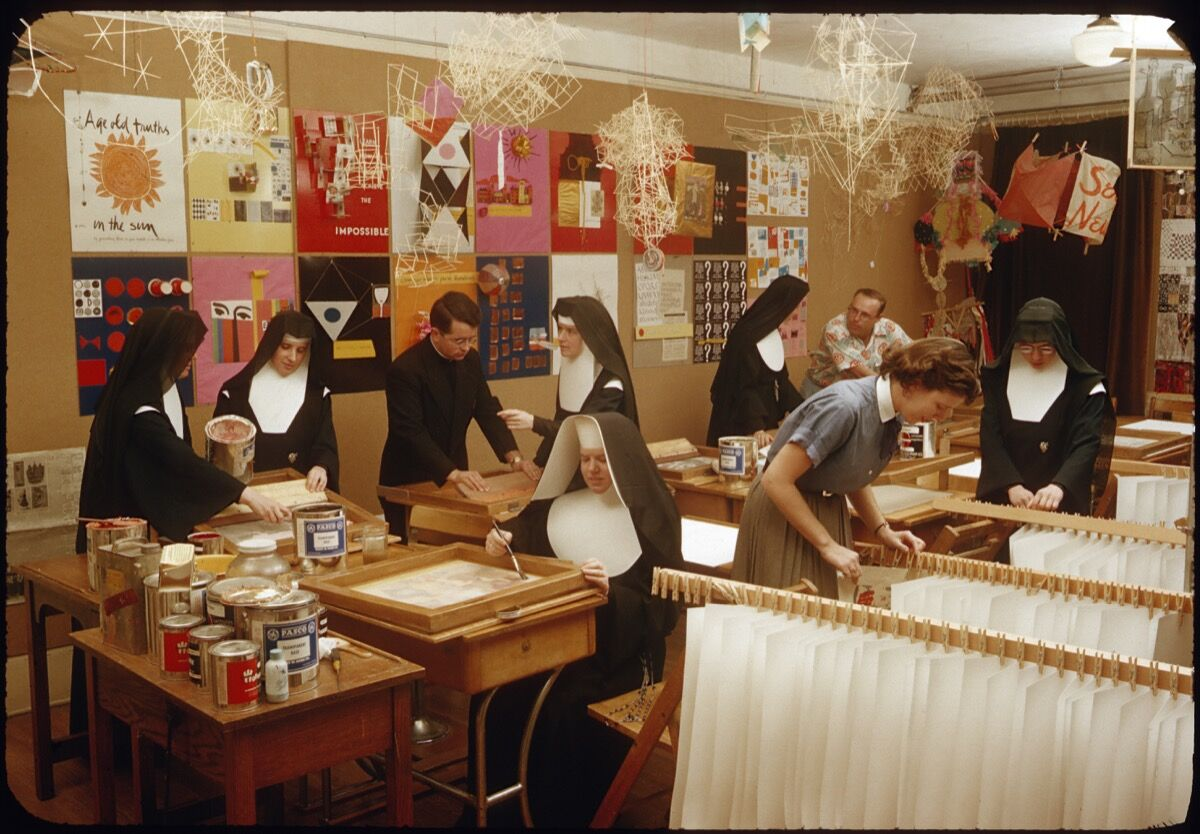 Immaculate Heart College Art Department c. 1955. Photo by Fred Swartz. Courtesy of the Corita Art Center, Immaculate Heart Community, Los Angeles.