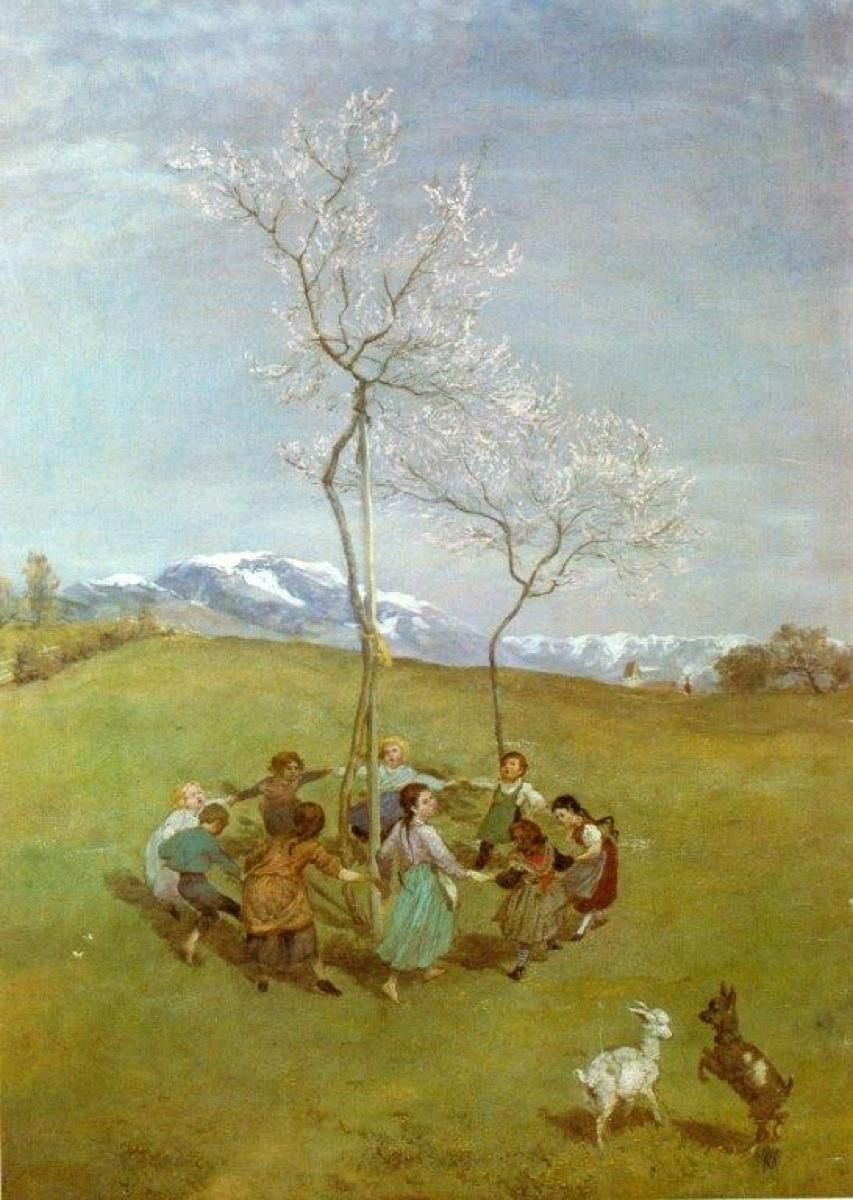 Hans Thoma, Frühling im Gebirge/Kinderreigen, 1874–75. Courtesy of Dr. Oetker.