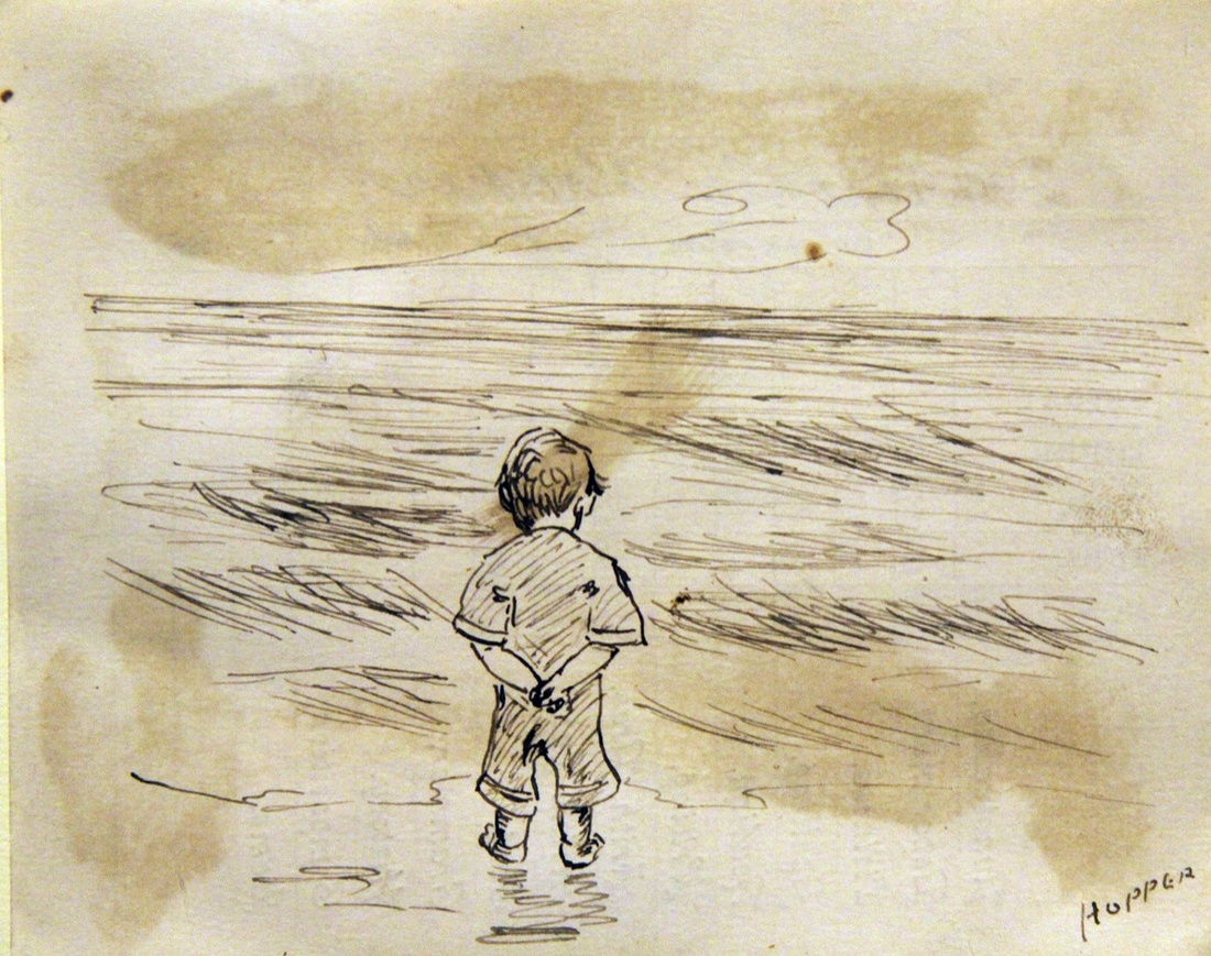 This image was drawn on the back of Edward Hopper's third grade report card dated October 23, 1891, when Hopper was nine years old. Little Boy Looking at the Sea, n.d. The Arthayer R. Sanborn Hopper Collection Trust.
