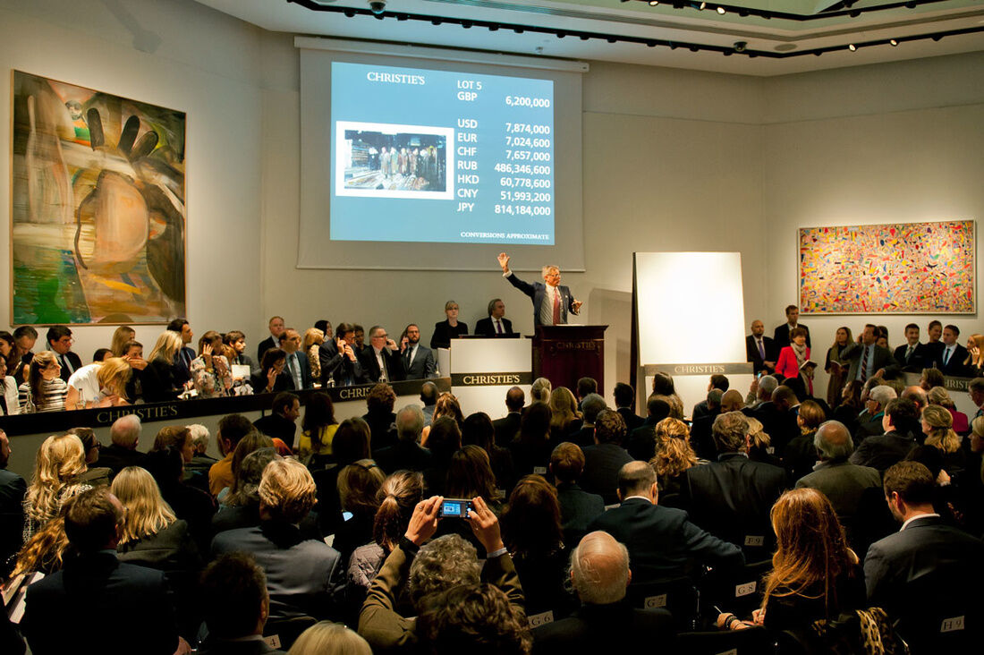 Photo of sale room at Christie's, one of the founding members of the Responsible Art Market Initiative. Courtesy of Christie's.