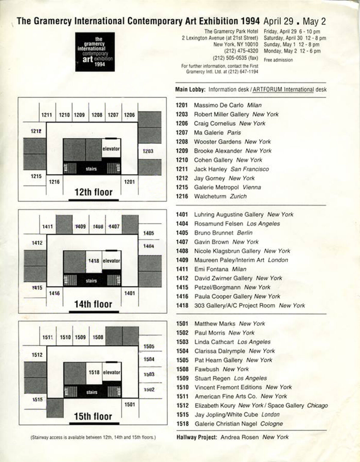 The floor plan for the 1994 Gramercy International Contemporary Art Fair. Photo by Sylvie Ball, courtesy The Armory Show.
