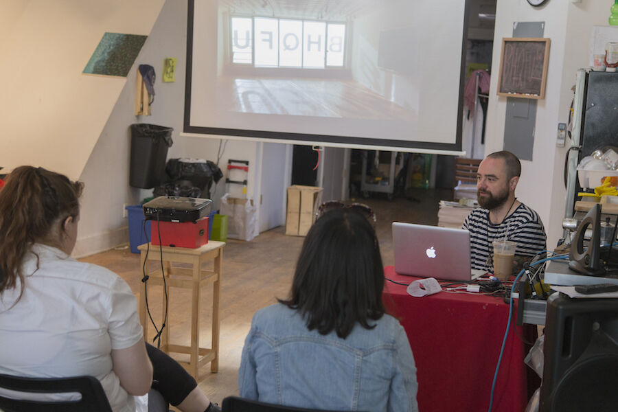 Sean Joseph Patrick Carney talks to the New York Arts Practicum at Bruce High Quality Foundation University. Photo by Arts Practicum via Flickr.