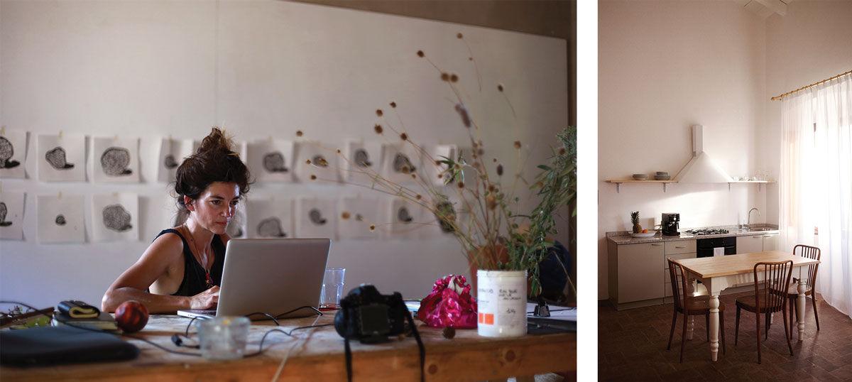 Left: Sarah Illenberger. Photo by Wilf Speller. Right: Photo by Coke Bartrina. Courtesy of Villa Lena.
