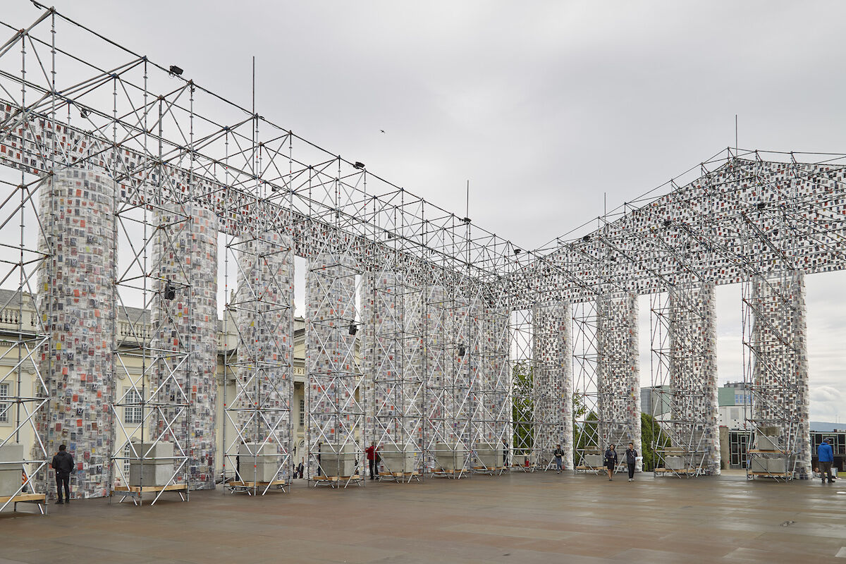Marta Minujín, The Parthenon of Books, 2017, in Friedrichsplatz, Kassel, for documenta 14. Photo by Ben Westoby for Artsy.