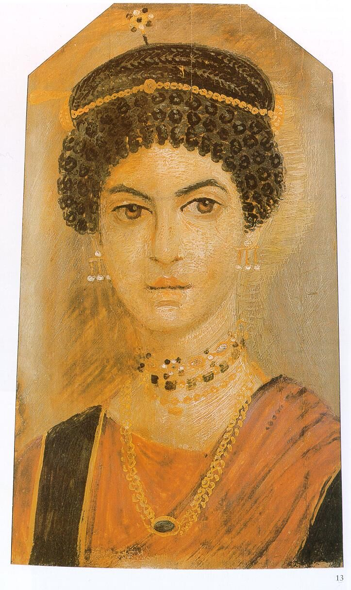 Fayum mummy portrait.  Courtesy of the Royal Museum of Scotland via Wikimedia Commons.
