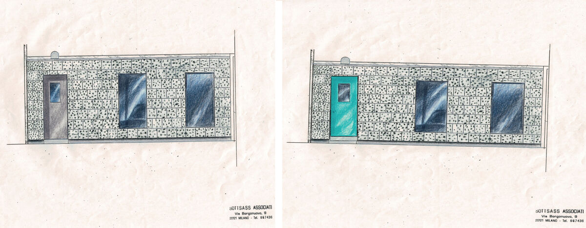 Sketches of façade by Sottsass Associati, courtesy of Galerie Yves Gastou
