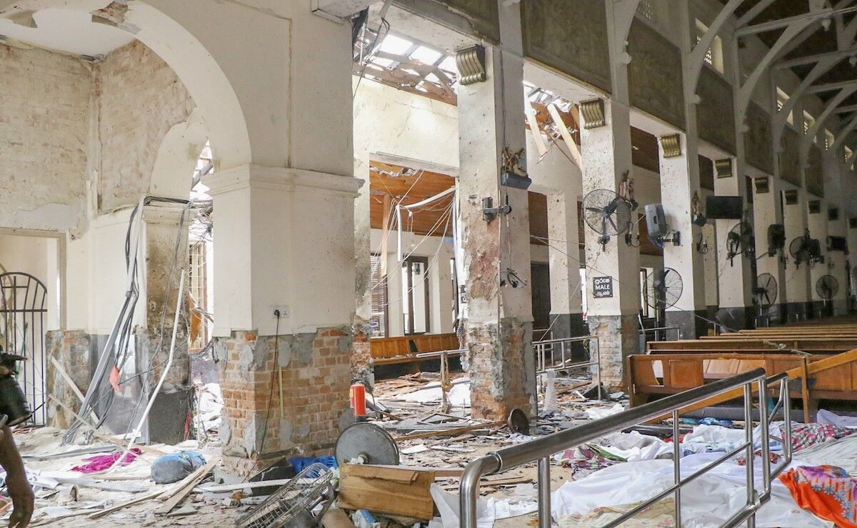 The interior of St. Anthony's Shrine following the terrorist bombing on April 21, 2019. Photo by Chamila Karunarathne/Anadolu Agency/Getty Images.