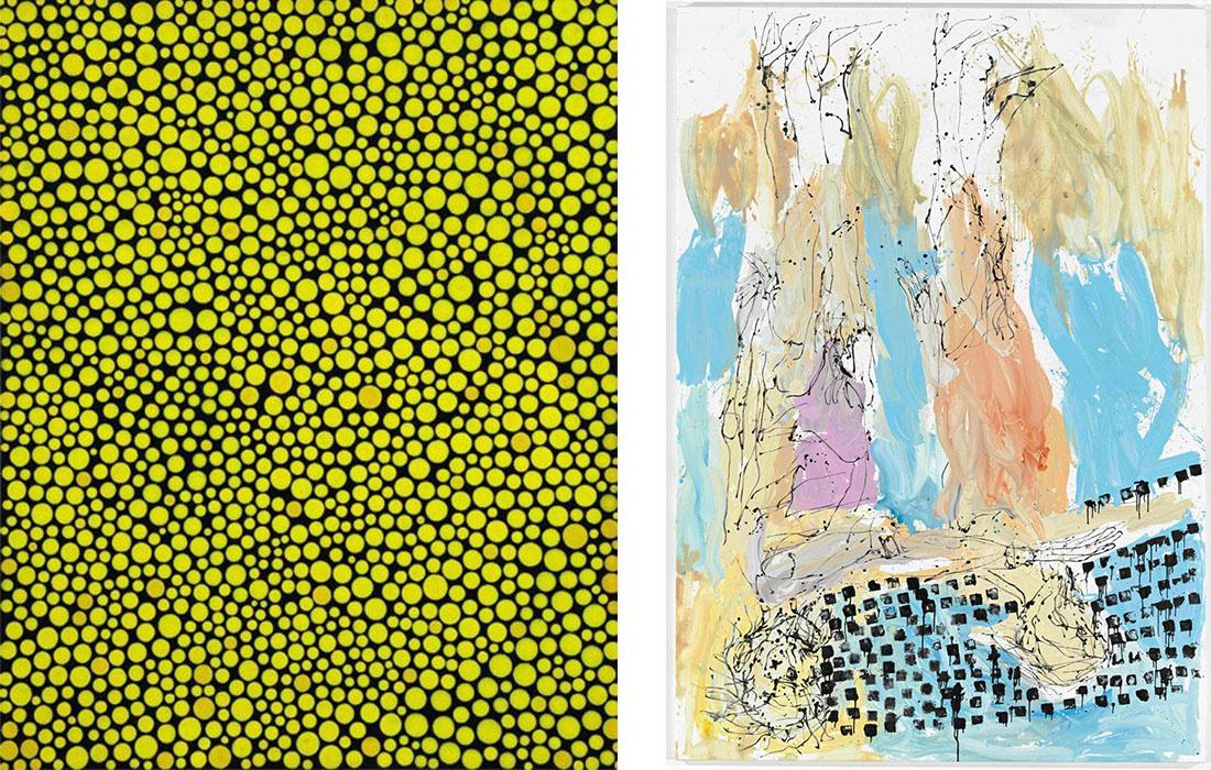 Left:Yayoi Kusama,Early Spring Stars,1992.,fromPopov Art Foundation. Courtesy Cosmoscow.Right:Georg Baselitz,Ostsee, 2012. Courtesy Cosmoscow.