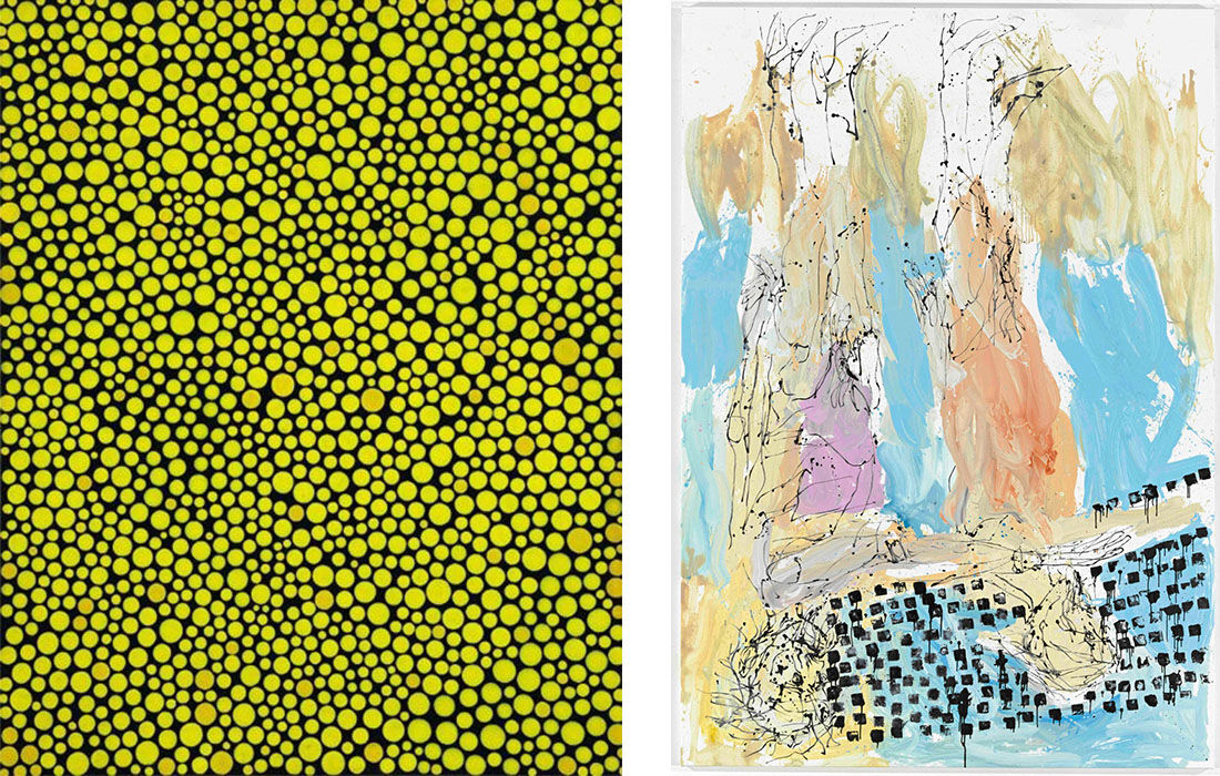 Left: Yayoi Kusama, Early Spring Stars, 1992., from Popov Art Foundation. Courtesy Cosmoscow. Right: Georg Baselitz, Ostsee, 2012. Courtesy Cosmoscow.