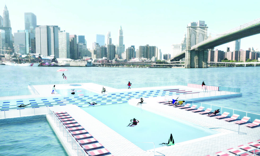 Envisioning the world's first water-filtering pool in NYC. Photo courtesy of +POOL