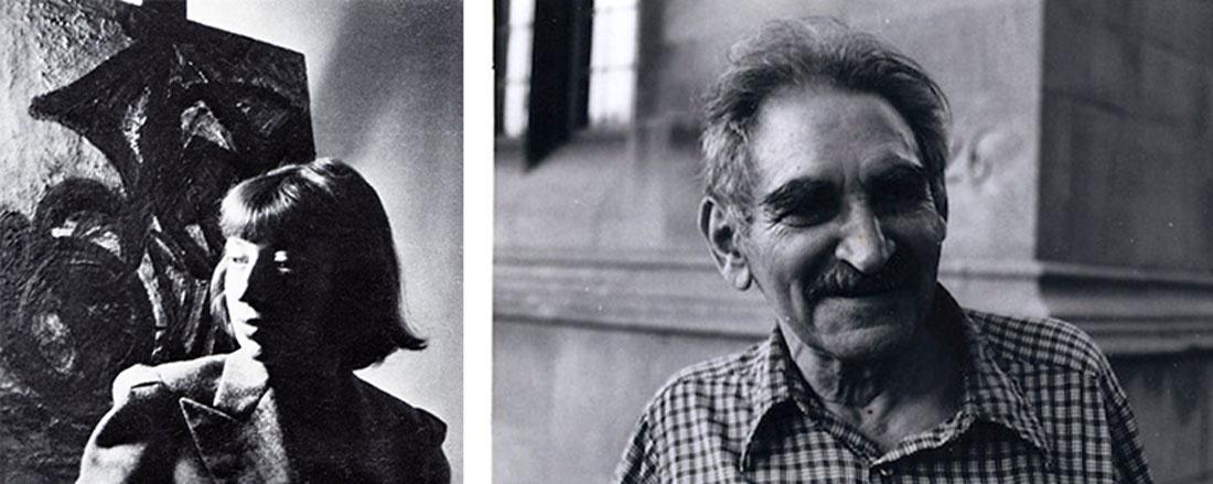 Left: Lee Krasner in her studio, New York City, ca. 1940.© Lee Krasner Papers, Archives of American Art, Smithsonian Institution. Courtesy of Pollock-Krasner House and Study Center, East Hampton, NY. Right:Portrait of Harold Rosenberg.
