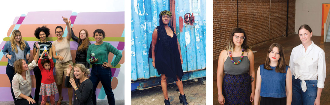 Left to right: The artists who run CTRL+SHFT; Anyka Barber of Betti Ono Gallery; and the artists of R\SF.