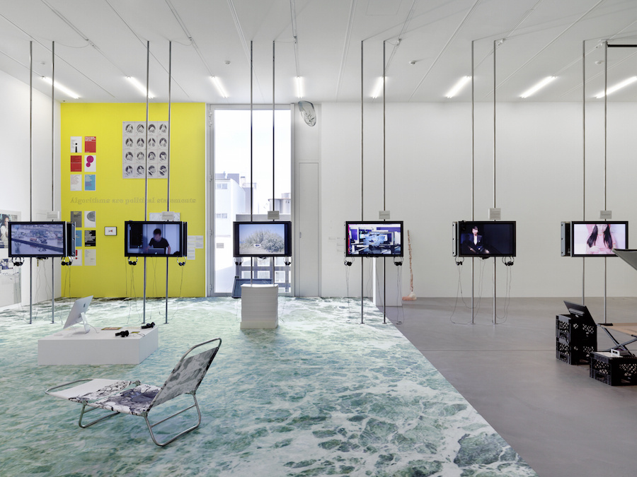 "Installation view of ""Filter Bubble,"" an 89plus exhibition co-curated by Simon Castets and Hans Ulrich Obrist, at LUMA Westbau, Zürich, until February 14th, 2016. Photo by Stefan Altenburger."