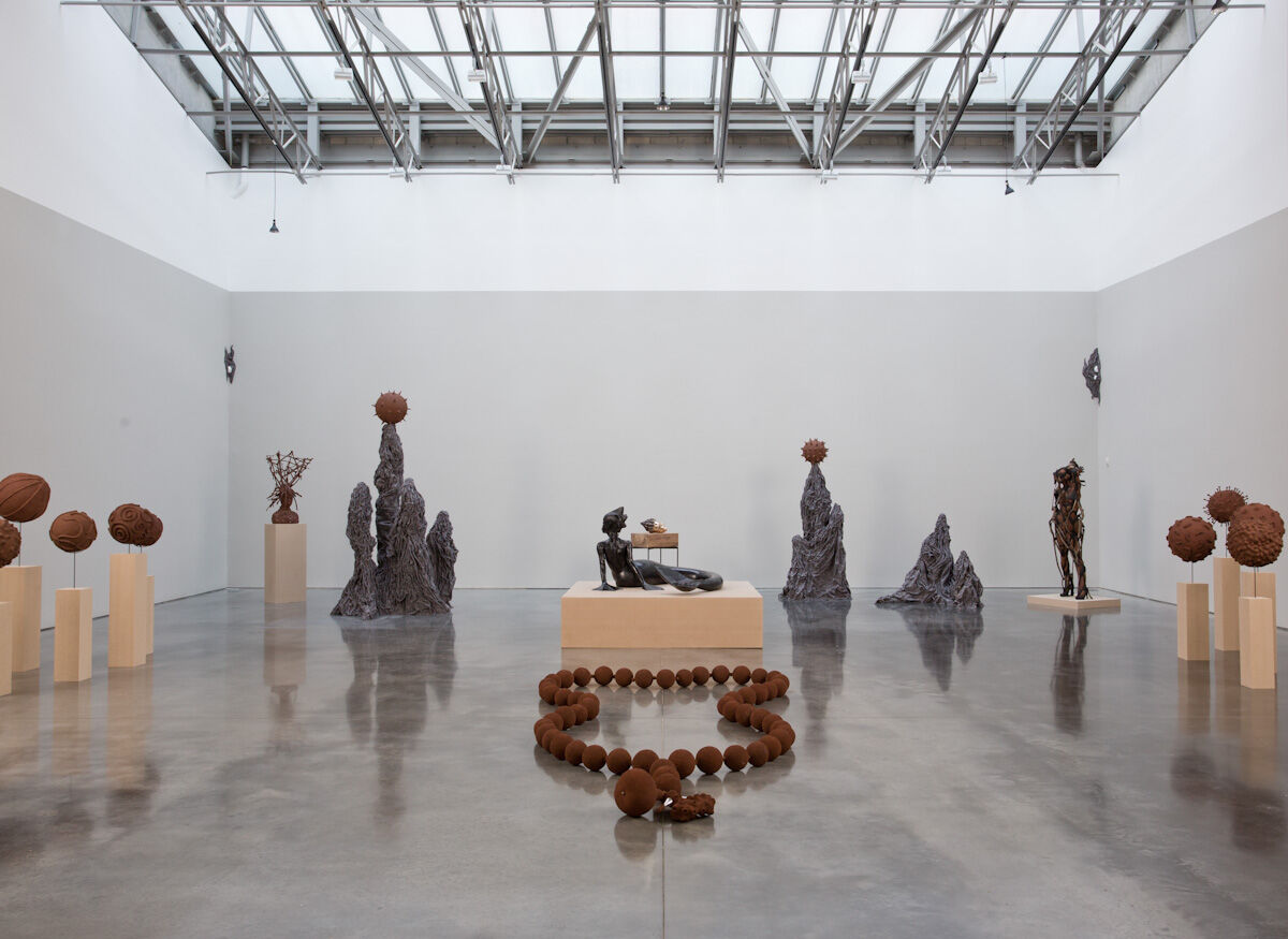 Installation view of Wangechi Mutu at Galdstone Gallery, courtesy of the gallery.