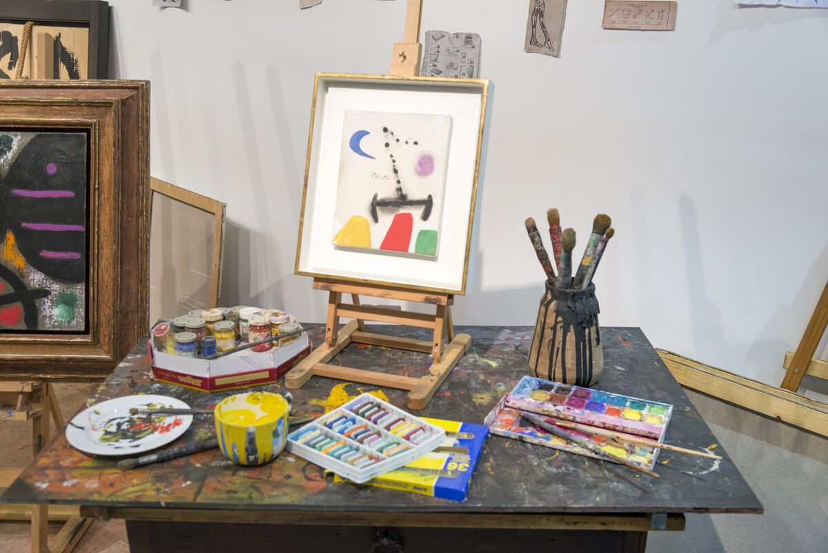 Installation view of Mayoral Galeria d'Art's recreation of Joan Miró's studio, The Armory Show, 2016. Photo by Adam Reich for Artsy.