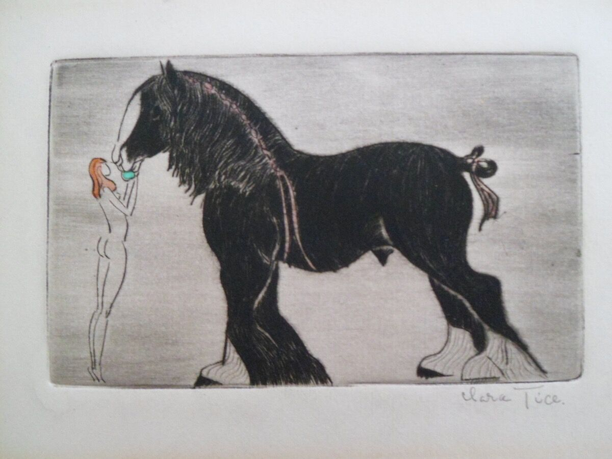 Clara Tice, Nude Woman Feeding Horse. Courtesy of the artist.