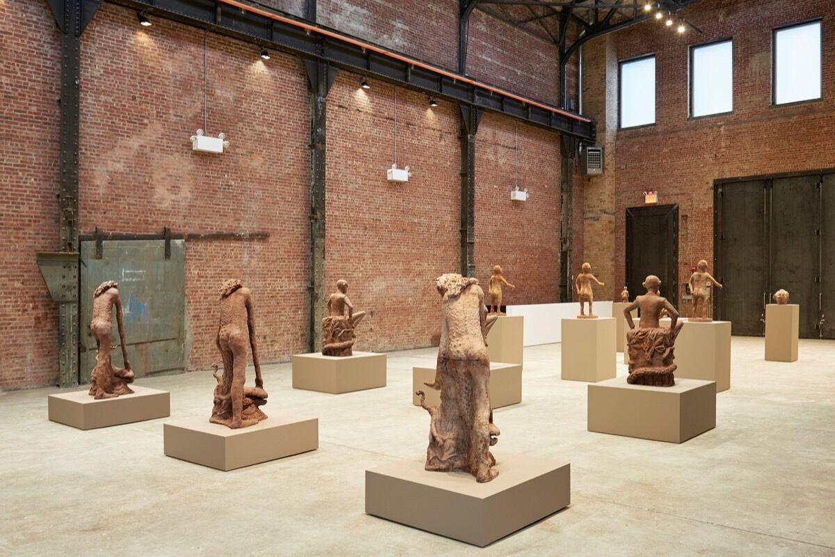 Installation view, Cercle d'Art des Travailleurs de Plantation Congolaise, SculptureCenter, 2017. Photo by Kyle Knodell, courtesy of SculptureCenter.