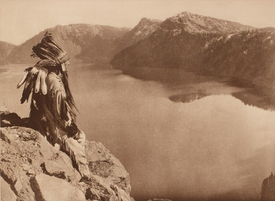 Edward Sheriff Curtis (American, 1868–1952), Crater Lake, 1923, plate 463, from the portfolio The North American Indian, volume 13, photogravure, gift of Henrietta E. Failing.