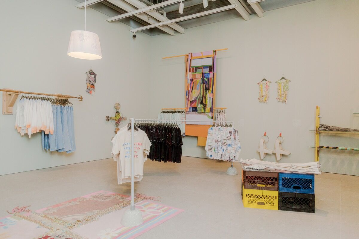 "Installation view of ""Eckhaus Latta: Possessed"" at the Whitney Museum of Art, New York, 2018. Photo by Thomas McCarty. Courtesy of the Whitney Museum of Art."
