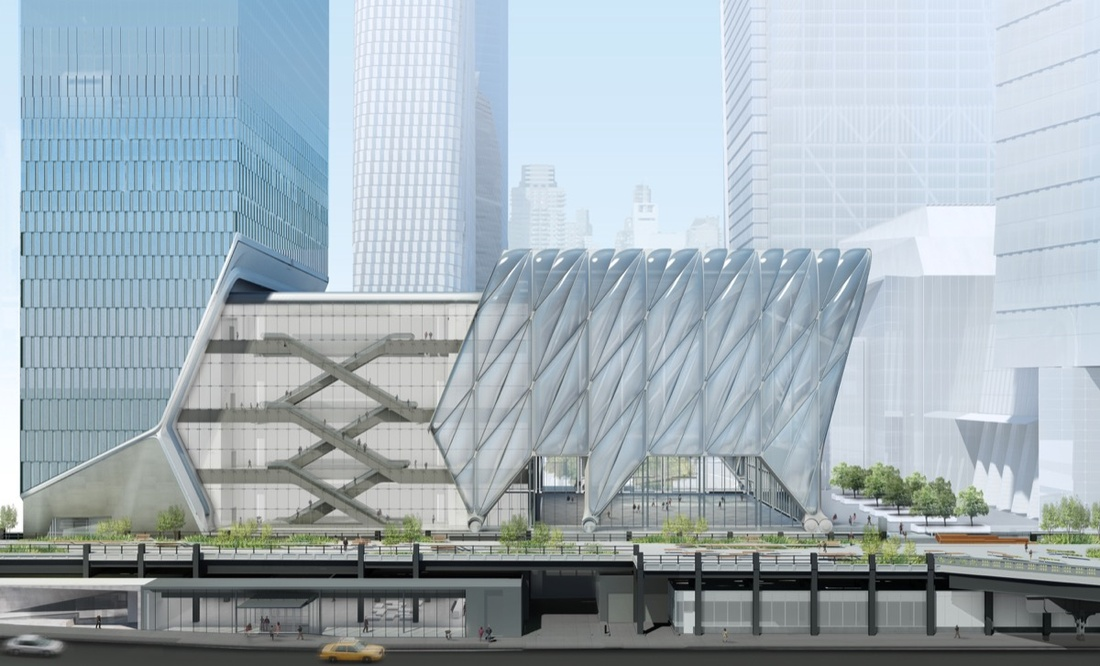 The Shed, deployed (rendering). Diller Scofido + Renfro in collaboration with Rockwell Group.