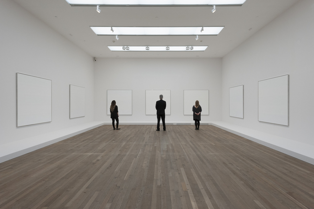 """Installation view of""""Agnes Martin"""" courtesy of Tate Modern"""