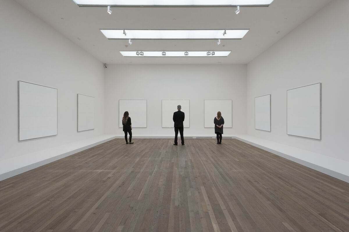 "Installation view of ""Agnes Martin"" courtesy of Tate Modern"