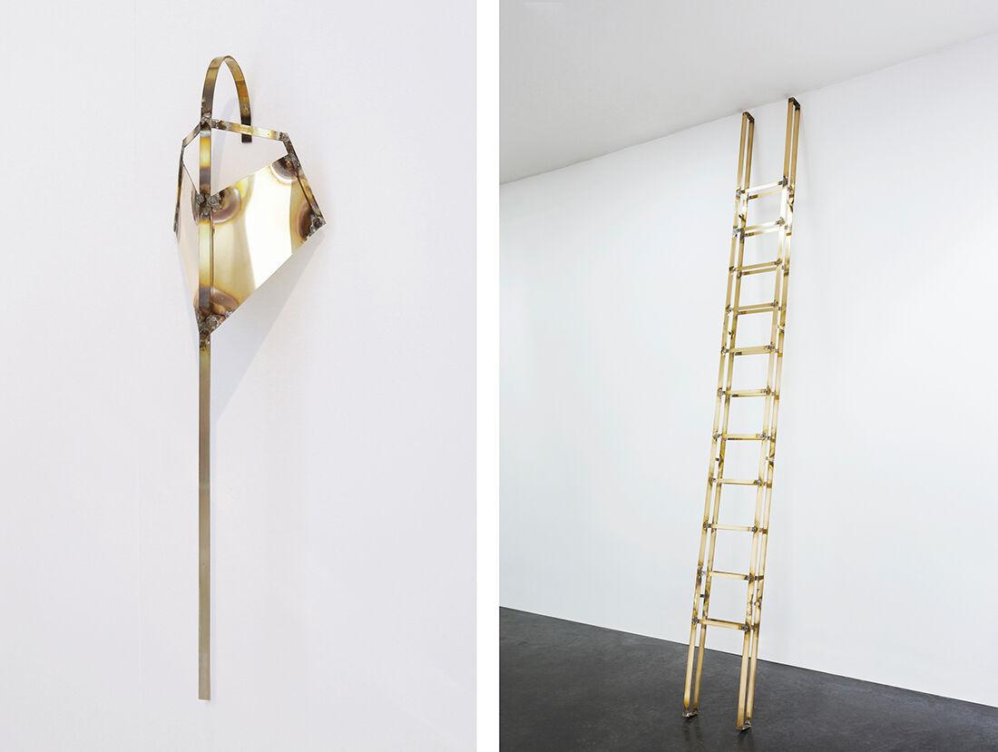 Tarik Kiswanson, Crossing Series (detail), 2014 (left) and Runner, 2015 (right), courtesy of the artist and Almine Rech Gallery.© Tarik Kiswanson