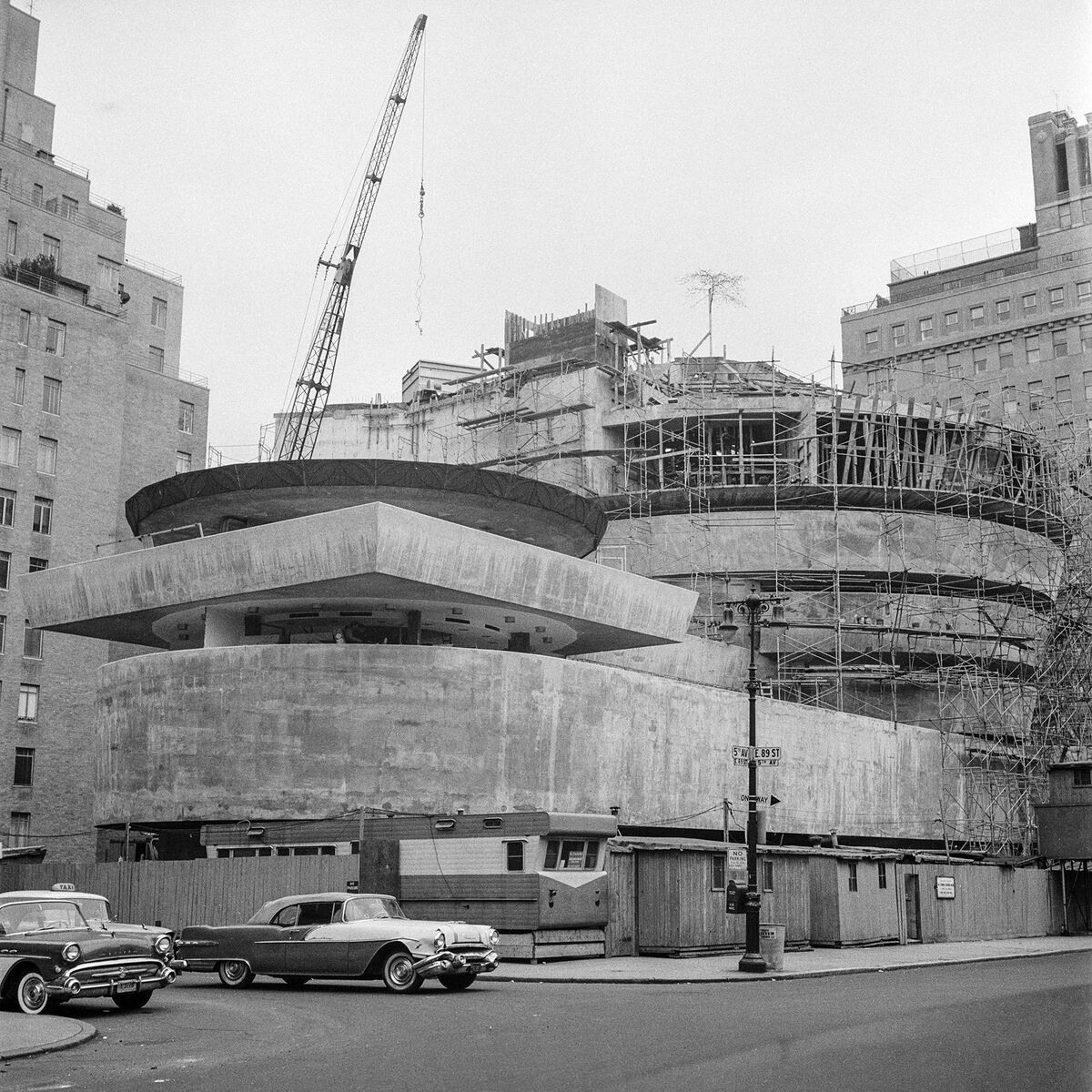 Solomon R. Guggenheim Museum, New York, under construction, ca. 1956–59. Photo by William H. Short. © Solomon R. Guggenheim Museum Archives, New York.