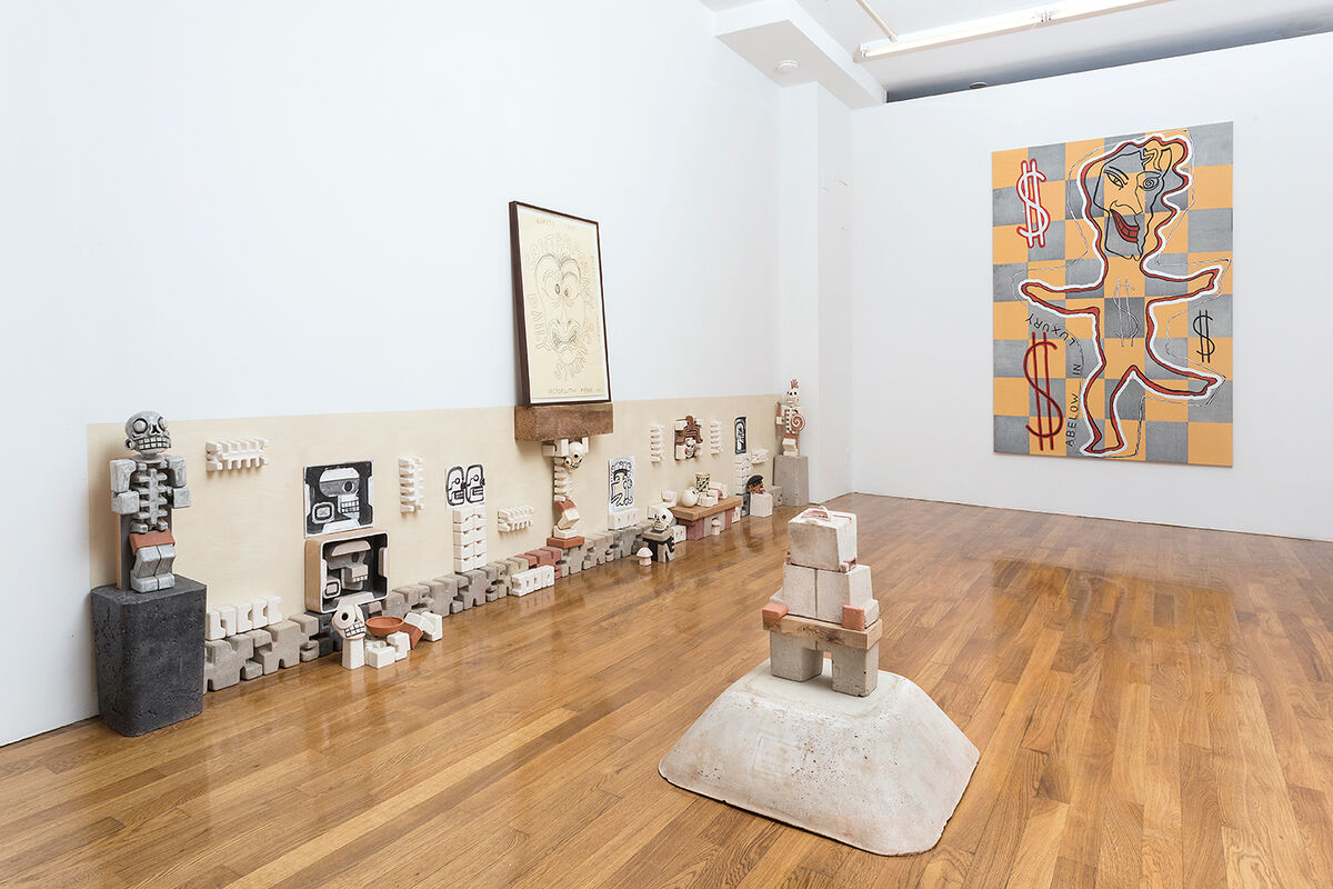"Installation view of ""Necropolitan Avenue,"" a two-person show from Joshua Abelow and Steve Keister. Courtesy of Real Estate."